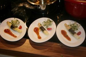 Fingerfood Deutscher Spargel im Noriblatt mit Teriyaki Sauce